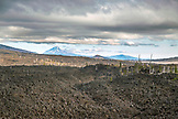 USA, Oregon, Oregon Cascades, view of Mount Jefferson from the top of the Dee Wright Observatory in the middle of an old lava flow at the top of the McKenzie Pass on Hwy 242, the Wilamette National Forest