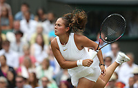 Daria Kasatkina (RUS) during her defeat by Angelique Kerber (GER) in their Ladies' Quarter Final match<br /> <br /> Photographer Rob Newell/CameraSport<br /> <br /> Wimbledon Lawn Tennis Championships - Day 8 - Tuesday 10th July 2018 -  All England Lawn Tennis and Croquet Club - Wimbledon - London - England<br /> <br /> World Copyright &not;&copy; 2017 CameraSport. All rights reserved. 43 Linden Ave. Countesthorpe. Leicester. England. LE8 5PG - Tel: +44 (0) 116 277 4147 - admin@camerasport.com - www.camerasport.com