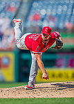 16 August 2017: Los Angeles Angels pitcher Cam Bedrosian on the mound against the Washington Nationals at Nationals Park in Washington, DC. The Angels defeated the Nationals 3-2 to split their 2-game series. Mandatory Credit: Ed Wolfstein Photo *** RAW (NEF) Image File Available ***