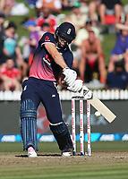 England's David Willey batting. New Zealand Blackcaps v England. One Day International Cricket. Seddon Park, Hamilton, New Zealand on Sunday 25 February 2018.<br /> <br /> Copyright photo: &copy; Bruce Lim / www.photosport.nz