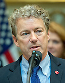 """United States Senator Rand Paul (Republican of Kentucky) makes remarks prior to US President Donald J. Trump signing H.J. Res. 38, disapproving the rule submitted by the US Department of the Interior known as the Stream Protection Rule in the Roosevelt Room of the White House in Washington, DC on Thursday, February 16, 2017.  The Department of Interior's Stream Protection Rule, which was signed during the final month of the Obama administration, """"addresses the impacts of surface coal mining operations on surface water, groundwater, and the productivity of mining operation sites,"""" according to the Congress.gov summary of the resolution.<br /> Credit: Ron Sachs / Pool via CNP"""