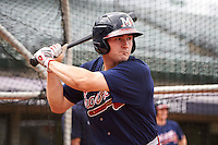 Mississippi Braves outfielder Matt Lipka (7) during practice before a game against the Mobile BayBears on April 28, 2015 at Hank Aaron Stadium in Mobile, Alabama.  The game was suspended after the top of the second inning with Mobile leading 3-0, the BayBears went on to defeat the Braves 6-1 the following day.  (Mike Janes/Four Seam Images)