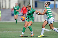 8 November 2015:  Marshall Forward Katie Suchodolski (23) attempts to control the ball with North Texas Defender Hailey Hadden (13) in pursuit in the first half as the University of North Texas Mean Green defeated the Marshall University Thundering Herd, 1-0, in the Conference USA championship game at University Park Stadium in Miami, Florida.