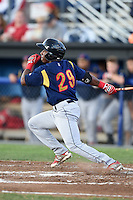 State College Spikes second baseman Darren Seferina (29) at bat during a game against the Batavia Muckdogs on July 3, 2014 at Dwyer Stadium in Batavia, New York.  State College defeated Batavia 7-1.  (Mike Janes/Four Seam Images)