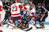 Dax Lauwers (NU - 44), Matt Lane (BU - 23), Steve Morra (NU - 12), Ben Rosen (BU - 8), Zak Stone (NU - 21) - The Boston University Terriers defeated the visiting Northeastern University Huskies 5-0 on senior night Saturday, March 9, 2013, at Agganis Arena in Boston, Massachusetts.