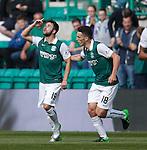 James Keatings celebrates his goal for Hibs