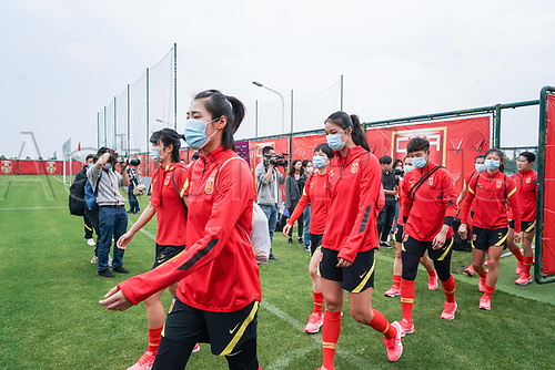 14th May 2020, Suzhou, southeastern Jiangsu Province of East China;  Players of Chinas womens national football team walk into the pitch prior to an open training session in Suzhou
