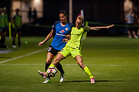 Kansas City, MO - Saturday June 17, 2017: Brittany Taylor, Jess Fishlock during a regular season National Women's Soccer League (NWSL) match between FC Kansas City and the Seattle Reign FC at Children's Mercy Victory Field.