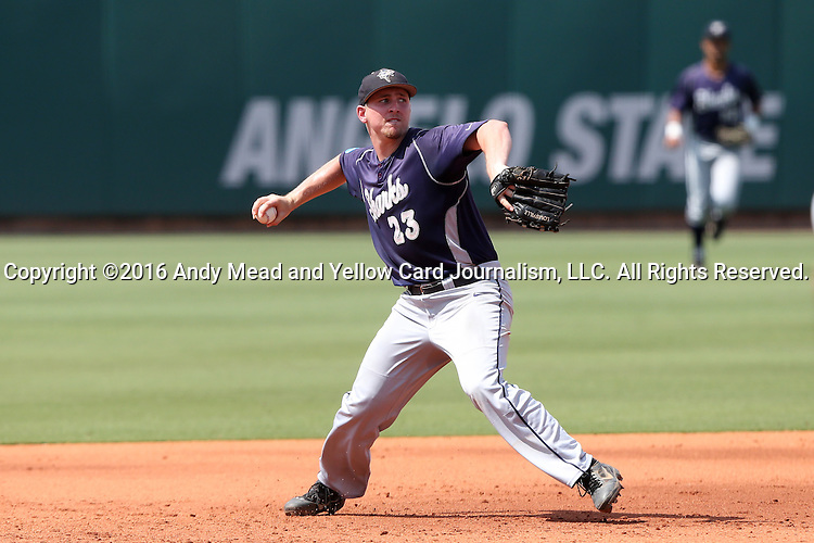 03 June 2016: Nova Southeastern's Daniel Zardon. The Nova Southeastern University Sharks played the Millersville University Marauders in Game 13 of the 2016 NCAA Division II College World Series  at Coleman Field at the USA Baseball National Training Complex in Cary, North Carolina. Nova Southeastern won the first game of the best of three Championship Series 2-1.