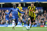 N'Golo Kante of Chelsea and Watford's Kiko Femenia challenge for the ball during Chelsea vs Watford, Premier League Football at Stamford Bridge on 5th May 2019