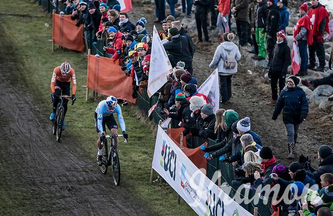 Mathieu Van der Poel (NED) and Wout Van Aert (BEL) <br /> <br /> Men's Elite race <br /> <br /> UCI 2019 Cyclocross World Championships<br /> Bogense / Denmark<br /> <br /> <br /> ©kramon