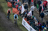 Mathieu Van der Poel (NED) and Wout Van Aert (BEL) <br /> <br /> Men's Elite race <br /> <br /> UCI 2019 Cyclocross World Championships<br /> Bogense / Denmark<br /> <br /> <br /> ©kramon