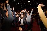 Stanford Entrepreneurship Week. Kick off, premiere of Imagine It!. Stanford Memorial Auditorium. Shots of groups forming.