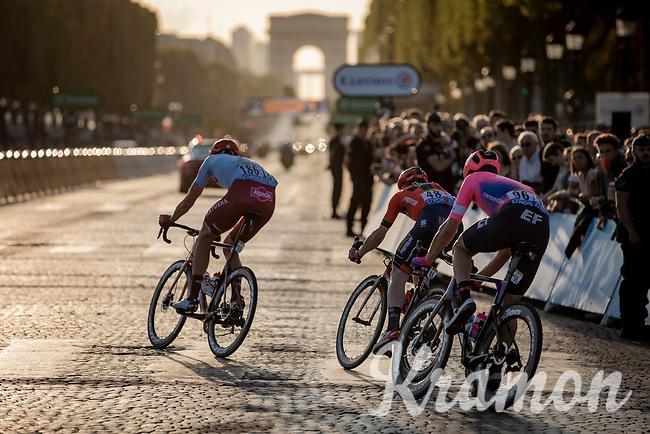 Breakaway group with Nils Politt (GER/Katusha Alpcecin) on the Champs-Elysées.<br /> <br /> Stage 21: Rambouillet to Paris (128km)<br /> 106th Tour de France 2019 (2.UWT)<br /> <br /> ©kramon