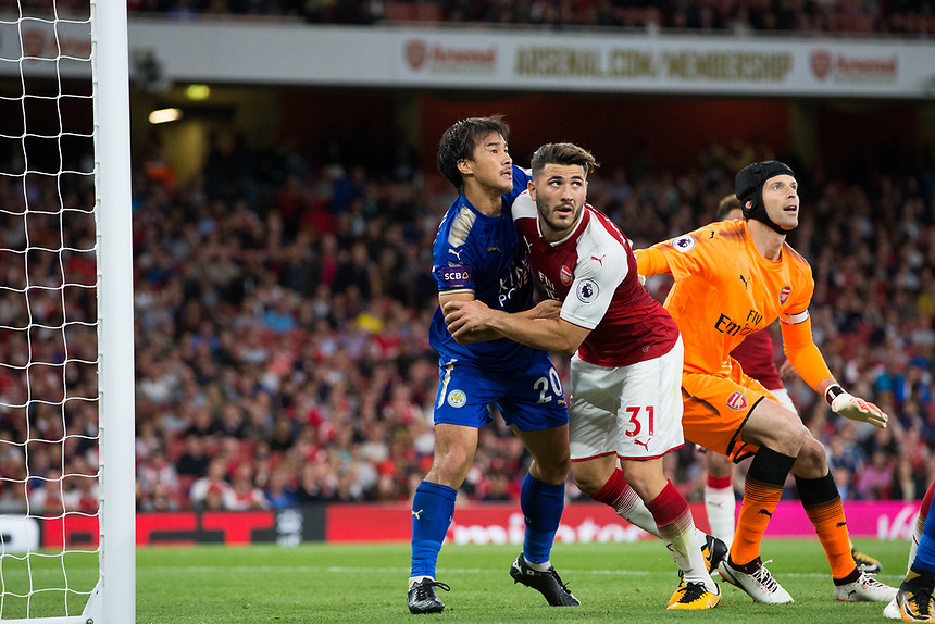 Leicester City's Shinji Okazaki battles with Arsenal's Sead Kolasinac at a corner<br /> <br /> Photographer Craig Mercer/CameraSport<br /> <br /> The Premier League - Arsenal v Leicester City - Friday 11th August 2017 - Emirates Stadium - London<br /> <br /> World Copyright &copy; 2017 CameraSport. All rights reserved. 43 Linden Ave. Countesthorpe. Leicester. England. LE8 5PG - Tel: +44 (0) 116 277 4147 - admin@camerasport.com - www.camerasport.com