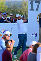 Marc Leishman (AUS) watches his tee shot on 17 during round 1 foursomes of the 2017 President's Cup, Liberty National Golf Club, Jersey City, New Jersey, USA. 9/28/2017.<br /> Picture: Golffile | Ken Murray<br /> ll photo usage must carry mandatory copyright credit (&copy; Golffile | Ken Murray)