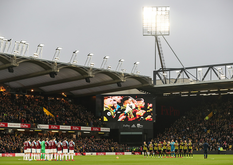 Both teams pay their respects to former Watford manager Graham Taylor before the match <br /> <br /> Photographer Andrew Kearns/CameraSport<br /> <br /> The Premier League - Watford v Burnley - Saturday 19 January 2019 - Vicarage Road - Watford<br /> <br /> World Copyright &copy; 2019 CameraSport. All rights reserved. 43 Linden Ave. Countesthorpe. Leicester. England. LE8 5PG - Tel: +44 (0) 116 277 4147 - admin@camerasport.com - www.camerasport.com