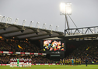 Both teams pay their respects to former Watford manager Graham Taylor before the match <br /> <br /> Photographer Andrew Kearns/CameraSport<br /> <br /> The Premier League - Watford v Burnley - Saturday 19 January 2019 - Vicarage Road - Watford<br /> <br /> World Copyright © 2019 CameraSport. All rights reserved. 43 Linden Ave. Countesthorpe. Leicester. England. LE8 5PG - Tel: +44 (0) 116 277 4147 - admin@camerasport.com - www.camerasport.com