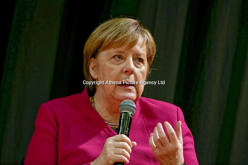 Pictured: German Chancellor Angela Merkel meets young people at the German School, Athens, Greece.<br /> Re: Official visit of German Chancellor Angela Merkel  to Athens, Greece.
