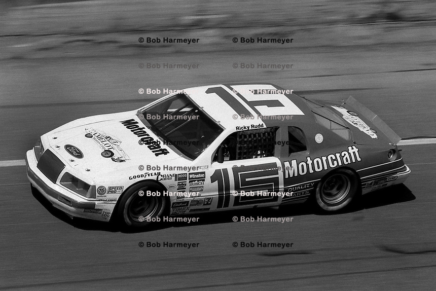 DAYTONA BEACH, FL - FEBRUARY 16: Ricky Rudd drives his Bud Moore Ford during the Daytona 500 NASCAR Winston Cup race at the Daytona International Speedway in Daytona Beach, Florida, on February 16, 1986.