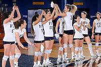 15 November 2008:  FIU outside hitter Yarimar Rosa (3) high-fives with teammates during player introductions prior to the FIU victory 3-0 (25-14, 25-22, 25-20) over FAU at FIU Stadium in Miami, Florida.