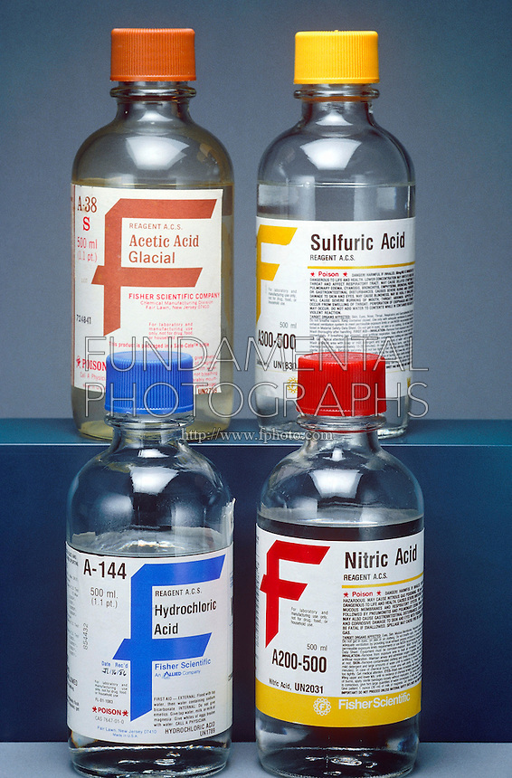 MAIN ACIDS IN BOTTLES<br /> Four Types of Commonly Used Acids<br /> Clockwise from left: acetic acid, sulfuric acid, hydrochloric acid, nitric acid.