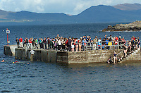 Fully clothed Des Lavelle from Valentia Island pictured after jumping from Kells Pier in County Kerry on Sunday to protest at Kerry County Council's descision to ban swimming of piers in the county. Photo: Don MacMonagle
