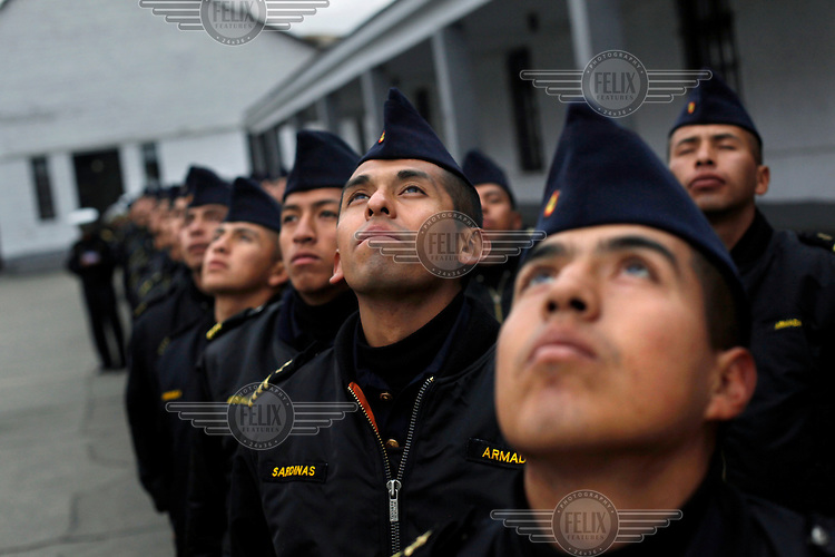 Young men training to be Bolivian Navy officers at the naval school in La Paz. Bolivia lost what is now northern Chile in a war over nitrates leaving Bolivia without access to the ocean.