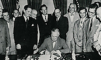 1949 July 15....President Truman signing Housing Act of 1949...NEG#.NRHA# 783..