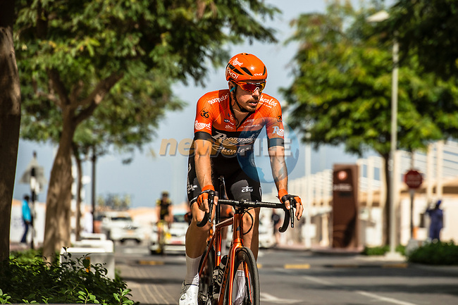 Boy van Poppel (NED) Roompot-Charles before Stage 6 of the 10th Tour of Oman 2019, running 135.5km from Al Mouj Muscat to Matrah Corniche, Oman. 21st February 2019.<br /> Picture: ASO/Kåre Dehlie Thorstad | Cyclefile<br /> All photos usage must carry mandatory copyright credit (© Cyclefile | ASO/Kåre Dehlie Thorstad)