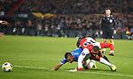 28.11.2019: Feyenoord v Rangers: Alfredo Morelos flattened by Leroy Fer but no penalty given