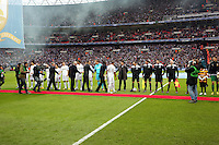 Pictured: Team players before kick off. Sunday 24 February 2013<br /> Re: Capital One Cup football final, Swansea v Bradford at the Wembley Stadium in London.