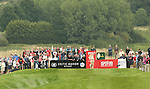 Miguel Angel Jimenez hits his tee shot on the 17th during the second round of the ISPS Handa Wales Open 2013 at the Celtic Manor Resort<br /> <br /> 30.08.13<br /> <br /> ©Steve Pope-Sportingwales