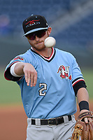 Third baseman Ryan Dorow (2) of the Greenville Drive warms up before a game against the Hickory Crawdads on Monday, August 20, 2018, at Fluor Field at the West End in Greenville, South Carolina. Hickory won, 11-2. (Tom Priddy/Four Seam Images)