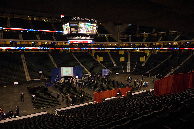 Xcel Energy Center during the media walk-through for the 2008 RNC Convention in Saint Paul, Minnesota.