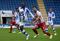 Stevenage's Chris Whelpdale battles with  Colchester United Kyel Reid <br /> Photographer Hannah Fountain/CameraSport<br /> <br /> The EFL Sky Bet League Two - Colchester United v Stevenage Borough - Saturday August 12th 2017 - Colchester Community Stadium - Colchester<br /> <br /> World Copyright &copy; 2017 CameraSport. All rights reserved. 43 Linden Ave. Countesthorpe. Leicester. England. LE8 5PG - Tel: +44 (0) 116 277 4147 - admin@camerasport.com - www.camerasport.com