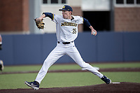 Michigan Wolverines pitcher Walker Cleveland (35) delivers a pitch to the plate against the Western Michigan Broncos on March 18, 2019 in the NCAA baseball game at Ray Fisher Stadium in Ann Arbor, Michigan. Michigan defeated Western Michigan 12-5. (Andrew Woolley/Four Seam Images)