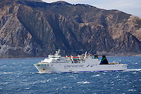 Interinslander ferry, Aratere, which plies between Wellington, North Island, New Zealand, and Picton in the South Island. 201004135396..Copyright Image from Victor Patterson, 54 Dorchester Park, Belfast, United Kingdom, UK. Tel: +44 28 90661296. Email: victorpatterson@me.com; Back-up: victorpatterson@gmail.com..For my Terms and Conditions of Use go to www.victorpatterson.com and click on the appropriate tab.