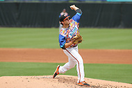 Bowie, MD - May 21, 2017: Bowie Baysox pitcher John Means (25) in action during the MiLB game between Binghamton and Bowie at  Baysox Stadium in Bowie, MD.  (Photo by Elliott Brown/Media Images International)
