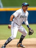 Christian Villanueva.<br /> Acciones del partido de beisbol, Dodgers de Los Angeles contra Padres de San Diego, tercer juego de la Serie en Mexico de las Ligas Mayores del Beisbol, realizado en el estadio de los Sultanes de Monterrey, Mexico el domingo 6 de Mayo 2018.<br /> (Photo: Luis Gutierrez)