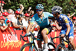 Alexey Lutsenko (KAZ) Astana and Julian Alaphilippe (FRA) Quick-Step Floors cross the finish line of Stage 13 of the 2017 La Vuelta, running 198.4km from Coin to Tomares, Seville, Spain. 1st September 2017.<br />