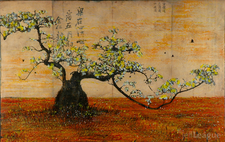 Mixed media encaustic painting of bonsai tree with blossoms. Photo transfer with encaustic painting over antique map.