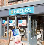 Greggs bakery shop, High Street, Marlborough, Wiltshire, England, UK