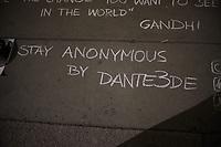 Million Mask March. Trafalgar Square, London.  5th November 2017 05/11/2017.<br /> Anonymous pavement art by Dante3DE.<br /> CAP/SDL<br /> &copy;Stephen Loftus/Capital Pictures