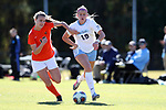CARY, NC - NOVEMBER 19: North Carolina's Alessia Russo (ENG) (19) and Princeton's Mikaela Symanovich (10). The University of North Carolina Tar Heels hosted the Princeton University Tigers on November 19, 2017 at Koka Booth Stadium in Cary, NC in an NCAA Division I Women's Soccer Tournament Third Round game. Princeton won 2-1 in sudden death overtime.