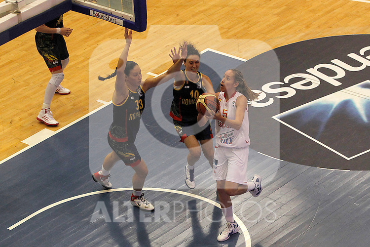 Spain´s Fernandez and Romania´s Cutas (l) and Orosz during end EuroBasket qualifications.July 11,2012.(ALTERPHOTOS/ARNEDO)