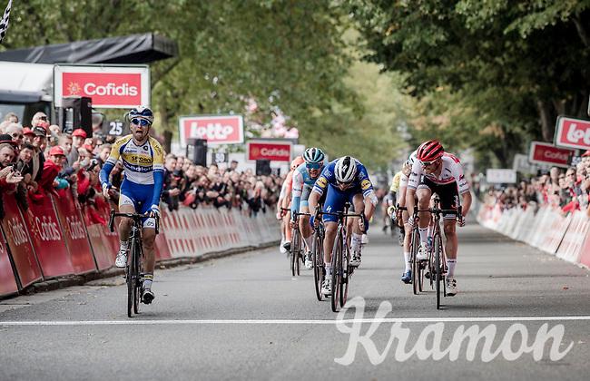 Piet Allegaert (BEL/Sport Vlaanderen-Baloise) beats Florian Sénéchal (FRA/Deceuninck - Quick Step) and Jasper Stuyven (BEL/Trek-Segafredo) on the finish line<br /> <br /> 79th Tour de l'Eurométropole 2019 (BEL/1.HC)<br /> One day race from La Louvière to Tournai (177km)<br /> <br /> ©kramon