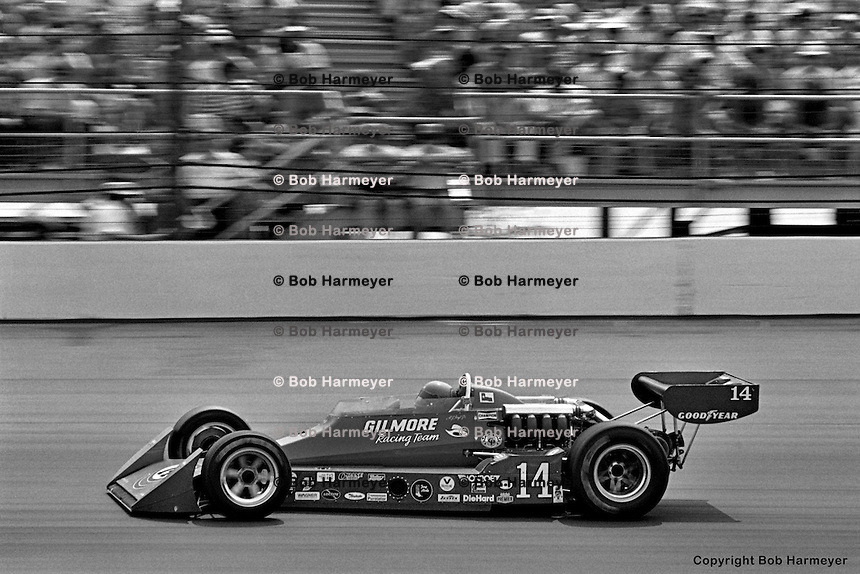 INDIANAPOLIS, IN: AJ Foyt drives his Coyote 75/Foyt TC en route to winning the Indianapolis 500 on May 29, 1977, at the Indianapolis Motor Speedway.