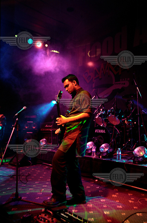A Bangladeshi rock band plays a concert in Dhaka.