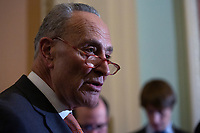United States Senate Minority Leader Chuck Schumer (Democrat of New York) speaks to members of the media following Democratic policy luncheons at the United States Capitol in Washington D.C., U.S. on Tuesday, February 11, 2020.  <br /> <br /> Credit: Stefani Reynolds / CNP/AdMedia